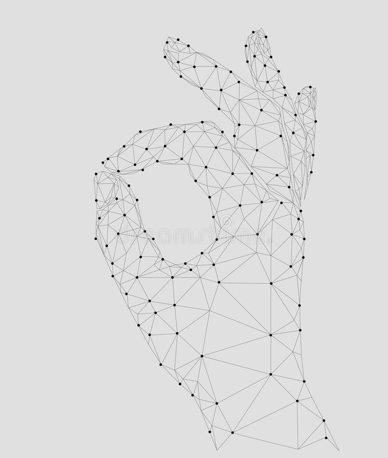 Согласование сигнала пальца знака одобренное низкая поли модель 3d человеческой руки соединила линию пункта точек Белый серый цве иллюстрация вектора