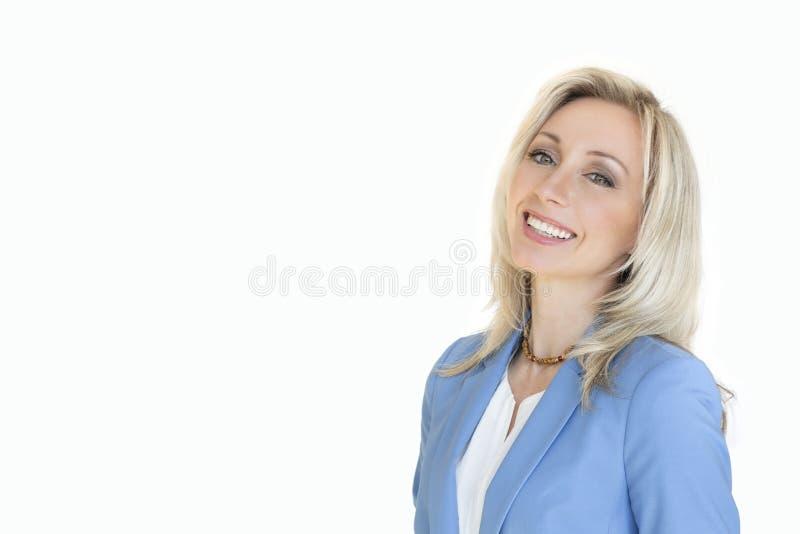 Содержание дела белокурая женщина портрета Изолированная белая предпосылка стоковое изображение rf
