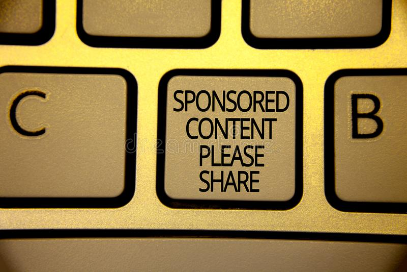 Содержание сочинительства слова спонсированное текстом пожалуйста делит Концепция дела для маркетинговой стратегии рекламируя кор стоковое фото rf