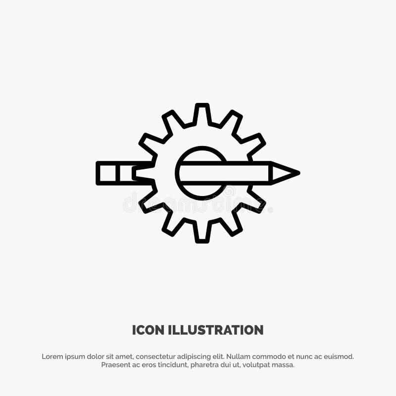 Содержание, сочинительство, дизайн, развитие, шестерня, вектор значка производственной линии бесплатная иллюстрация