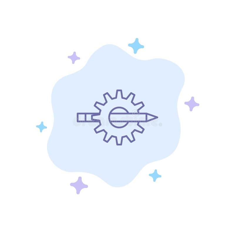 Содержание, сочинительство, дизайн, развитие, шестерня, значок продукции голубой на абстрактной предпосылке облака иллюстрация вектора