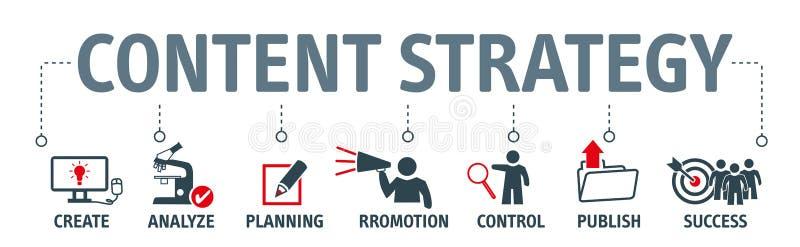 Содержимые значки диаграммы концепции стратегии на знамени иллюстрация штока