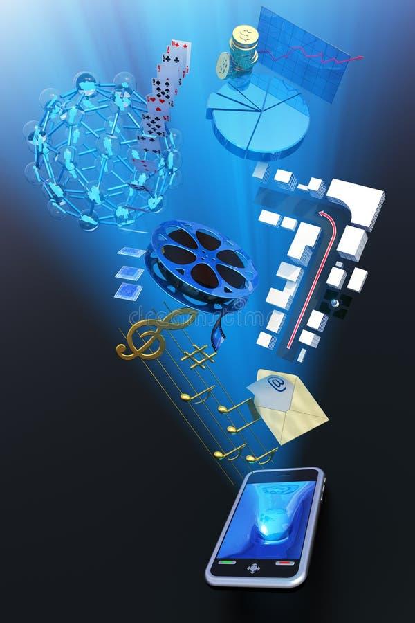 содержимый мобильный телефон иллюстрация вектора