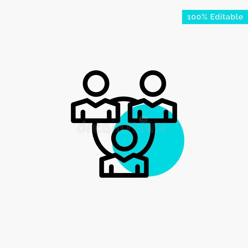 Соединение, встреча, офис, значок вектора пункта круга самого интересного бирюзы связи иллюстрация штока