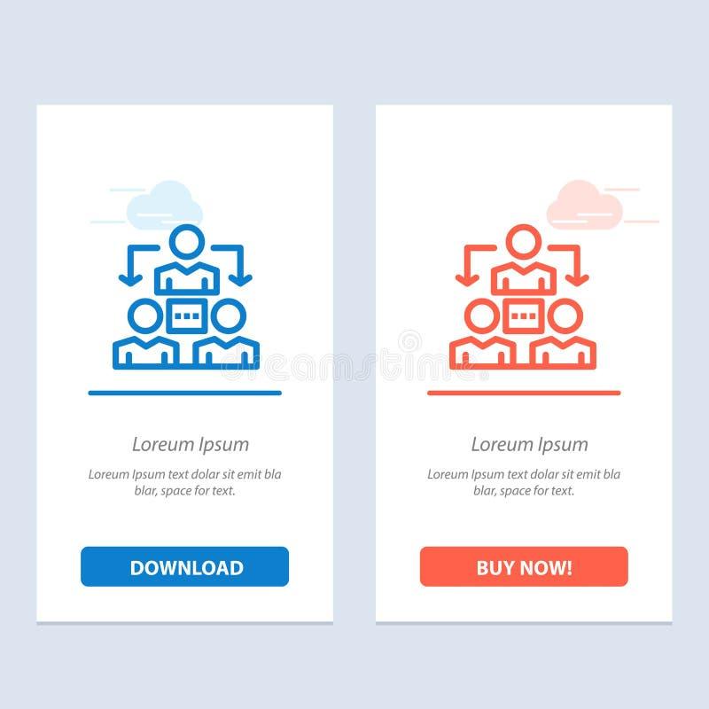 Соединение, встреча, офис, синь связи и красная загрузка и купить теперь шаблон карты приспособления сети иллюстрация вектора