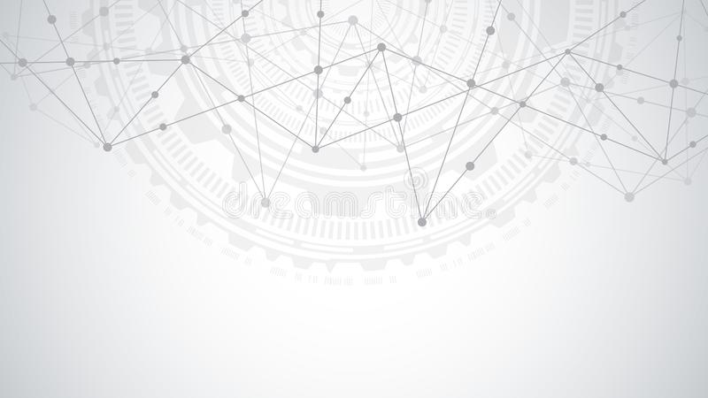 Соединение глобальной вычислительной сети Абстрактная геометрическая предпосылка с соединяясь точками и линиями Цифровая технолог иллюстрация вектора