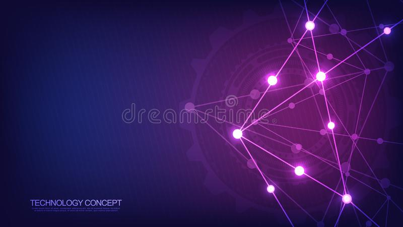 Соединение глобальной вычислительной сети Абстрактная геометрическая предпосылка с соединяясь точками и линиями Цифровая технолог иллюстрация штока