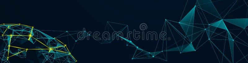 Соединение глобальной вычислительной сети и технология молекул с полигональным иллюстрация вектора
