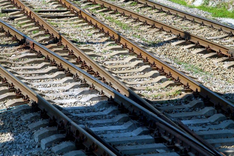 Соединение железнодорожного пути с рычагом пунктов стоковые изображения rf