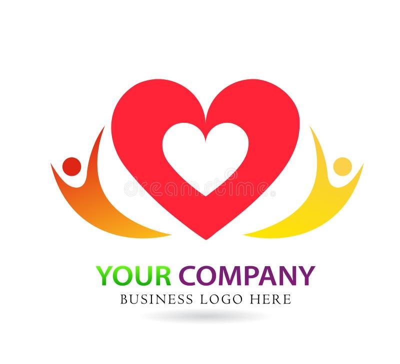 Соединение заботы любов семьи в красном знаке элемента значка логотипа концепции компании сердца на белой предпосылке бесплатная иллюстрация