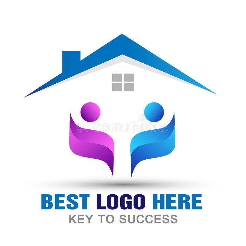 Соединение заботы семьи совместно самонаводит значок логотипа людей на белой предпосылке бесплатная иллюстрация