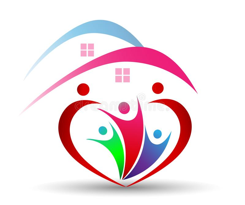 Соединение и влюбленность семьи в сердце формируют логотип в белом backgrouund бесплатная иллюстрация
