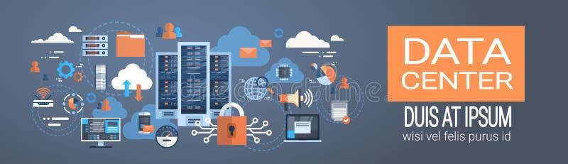 Соединение компьютера облака центра данных хозяйничая база данных сервера синхронизирует технологию бесплатная иллюстрация