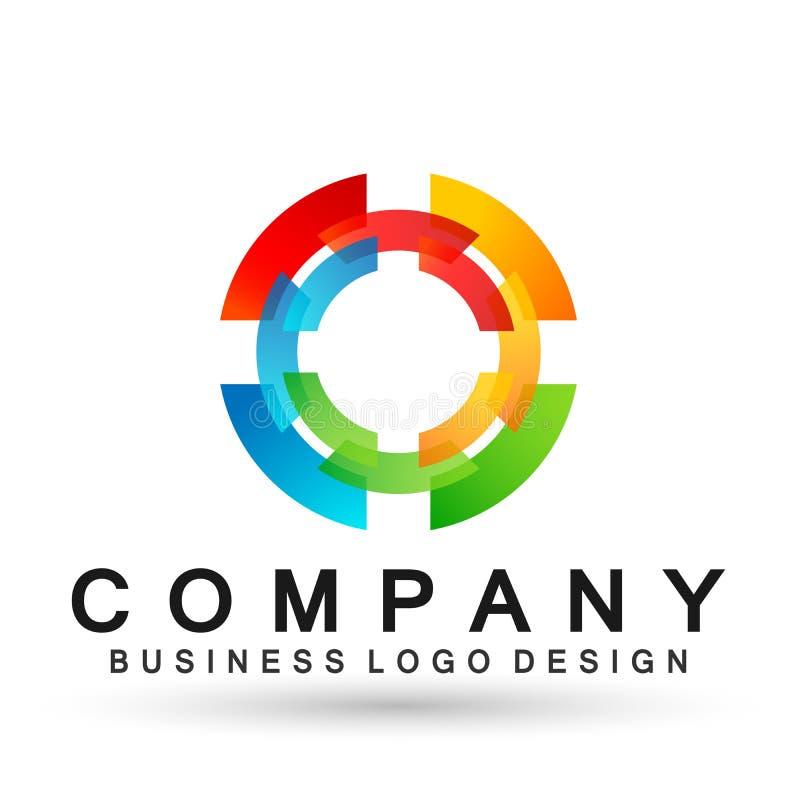 Соединение логотипа дела абстрактного круга форменное на корпоративном инвестирует дизайн логотипа дела Финансовые инвестиции на  бесплатная иллюстрация