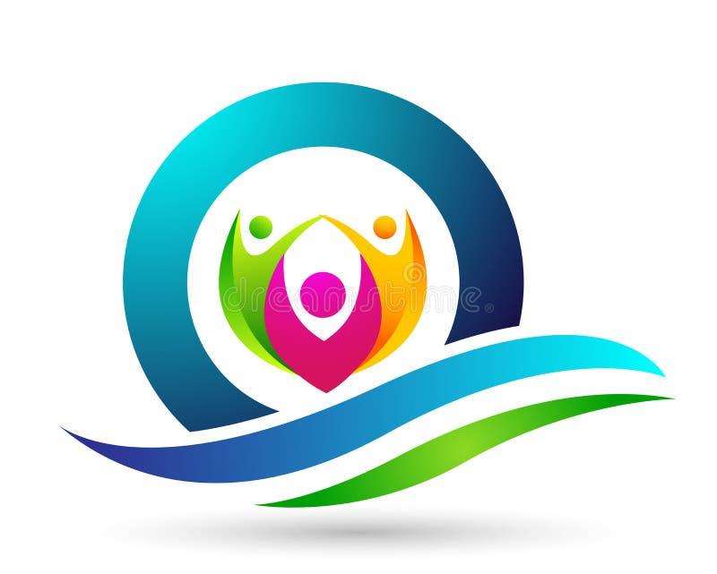 Соединение, любовь и забота семьи счастливые в красном сердце с логотипом формы руки и сердца иллюстрация вектора
