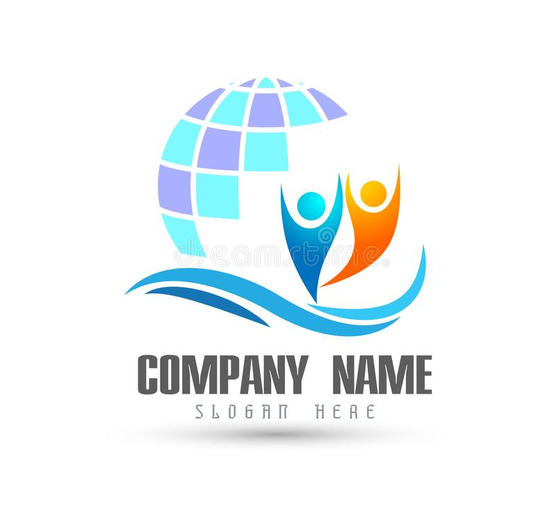 Соединение людей празднуя логотип знака логотипа happyness/глобуса любов иллюстрация штока