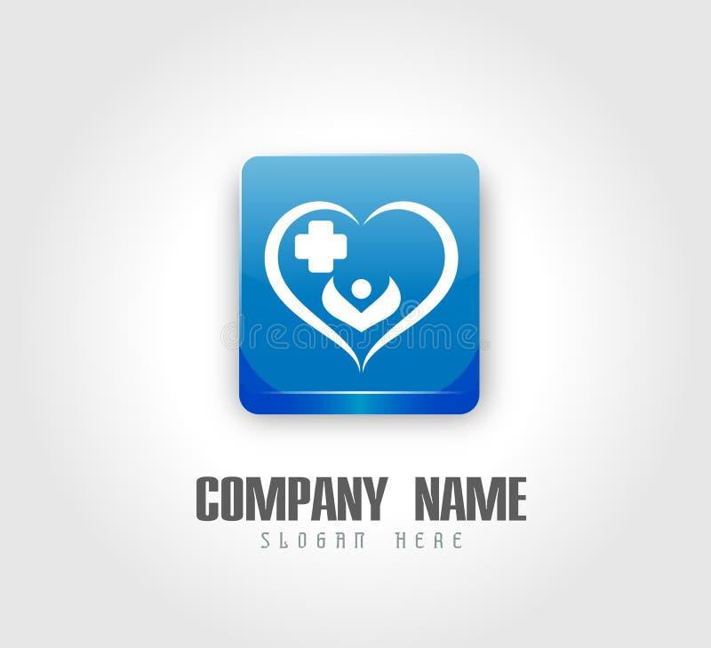 Соединение людей празднуя логотип значка здравоохранения happyness/сердце соединения любов счастливое сформировало домашний логот бесплатная иллюстрация