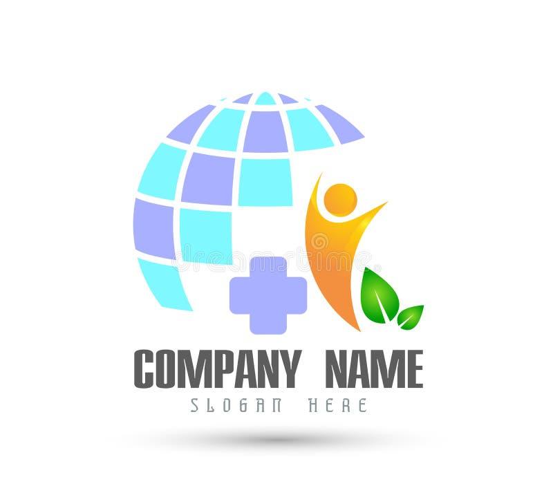 Соединение людей празднуя логотип happyness/глобус любов с зеленым логотипом знака здравоохранения лист бесплатная иллюстрация