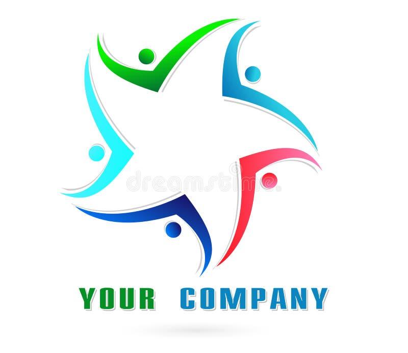 Соединение людей совместно объединяется в команду символ значка логотипа работы для компании на белой предпосылке иллюстрация вектора