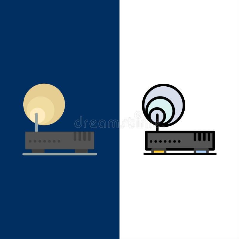 Соединение, оборудование, интернет, значки сети Квартира и линия заполненный значок установили предпосылку вектора голубую иллюстрация вектора