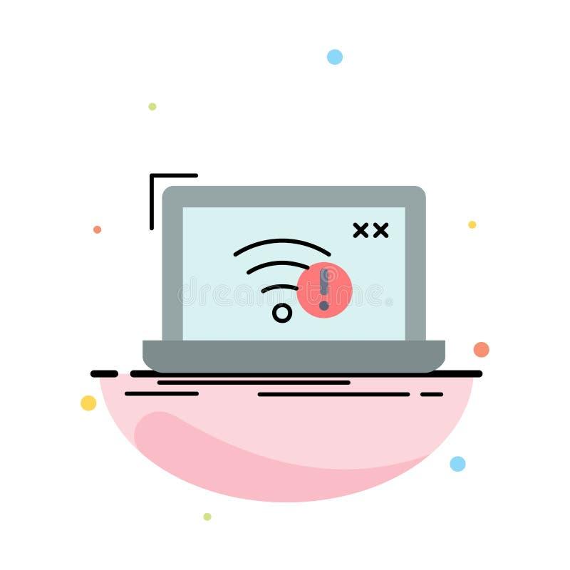 соединение, ошибка, интернет, потерянный, вектор значка цвета интернета плоский иллюстрация вектора