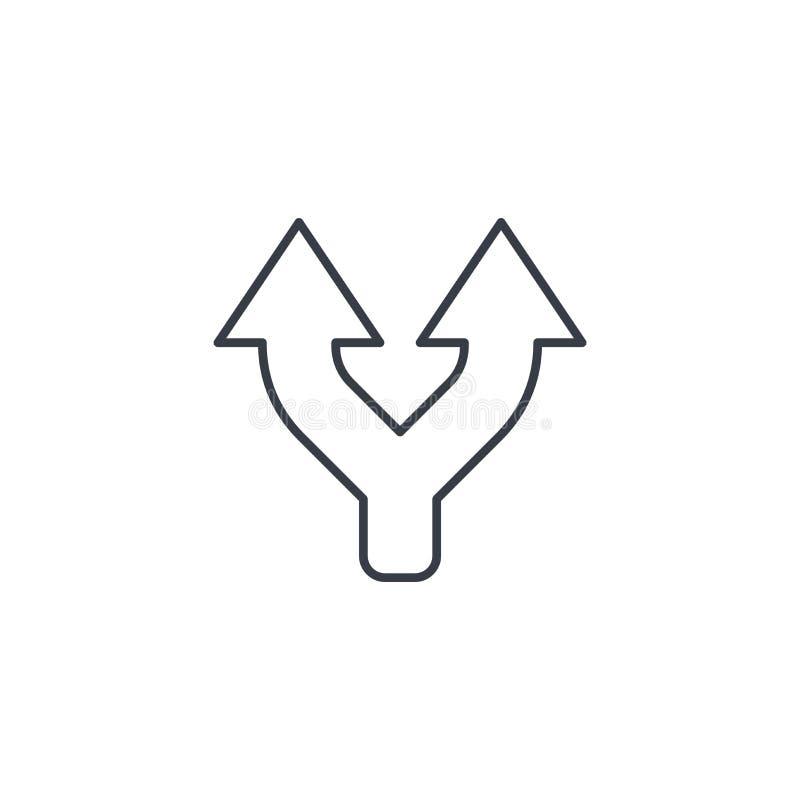Соединение, разъединение, 2 пути, пути утончает линию значок Линейный символ вектора иллюстрация вектора