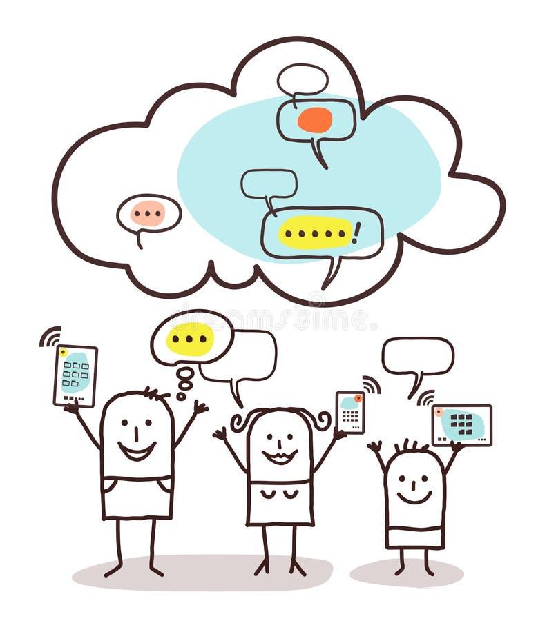 Соединение семьи и облака шаржа иллюстрация штока