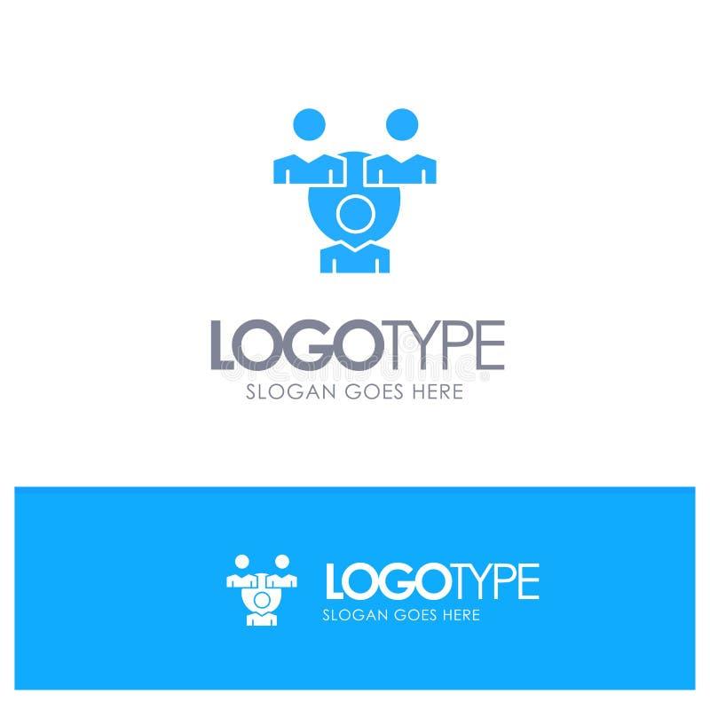 Соединение, собрание, Office, Синий твердый логотип связи с местом для метки бесплатная иллюстрация