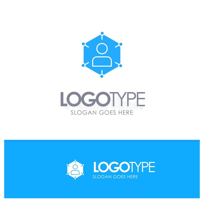 Соединение, сообщение, сеть, люди, личный, социальные, логотип потребителя голубой твердый с местом для слогана иллюстрация вектора