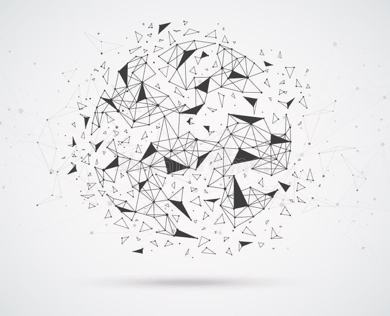 Соединения глобальной вычислительной сети с пунктами и линиями иллюстрация штока