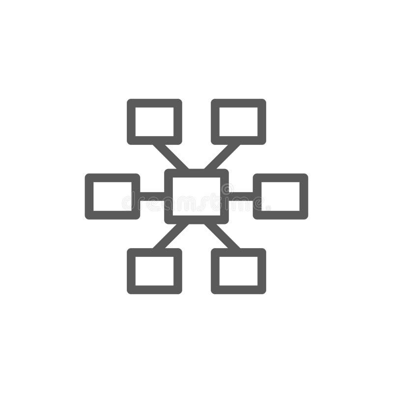 Соединения, линия значок иерархии иллюстрация штока