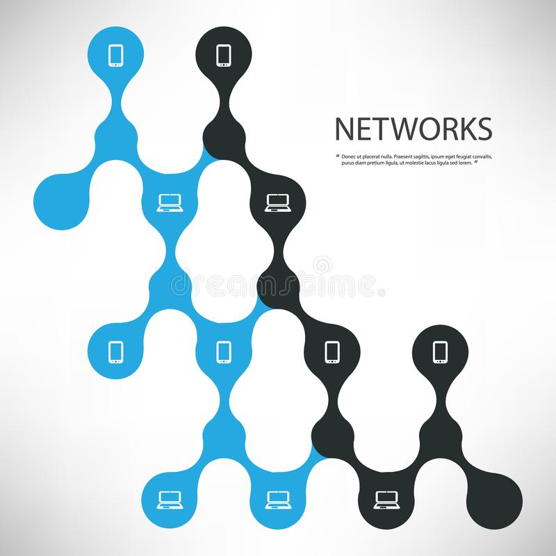 Соединения - черные и голубая конструктивная схема проектирования сети цифров с соединенным планом значков - иллюстрация шаблона  иллюстрация штока
