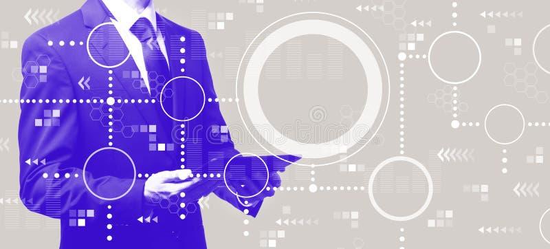Соединенная диаграмма кругов с бизнесменом держа планшет иллюстрация штока