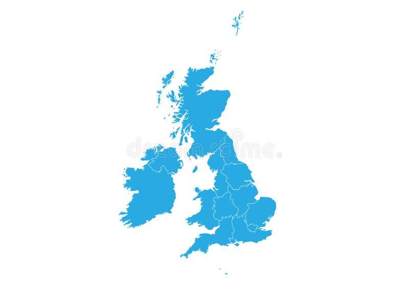соединенная карта королевства Высокая детальная карта вектора - Великобритания иллюстрация вектора