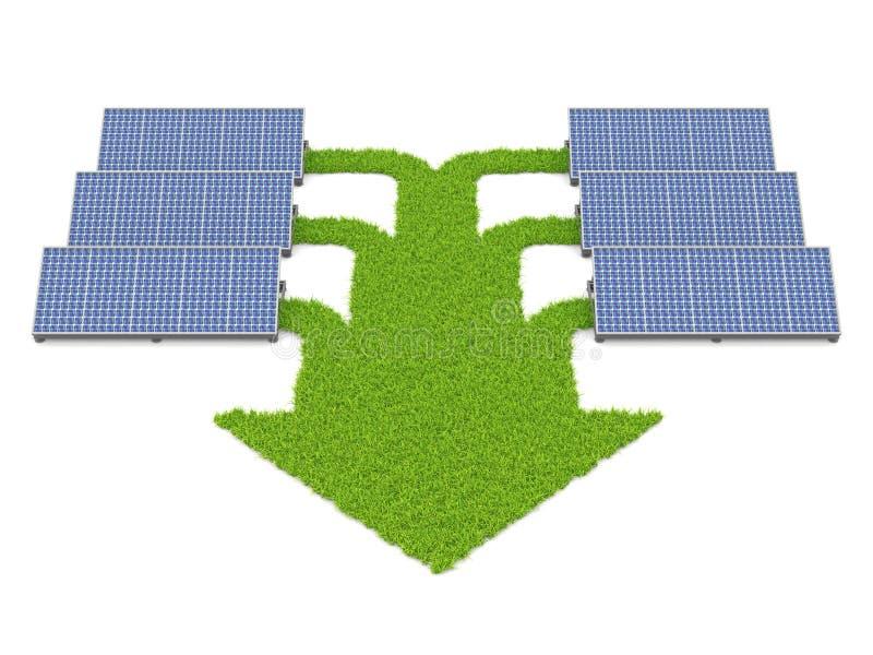 соединенная трава обшивает панелями пути солнечные иллюстрация вектора