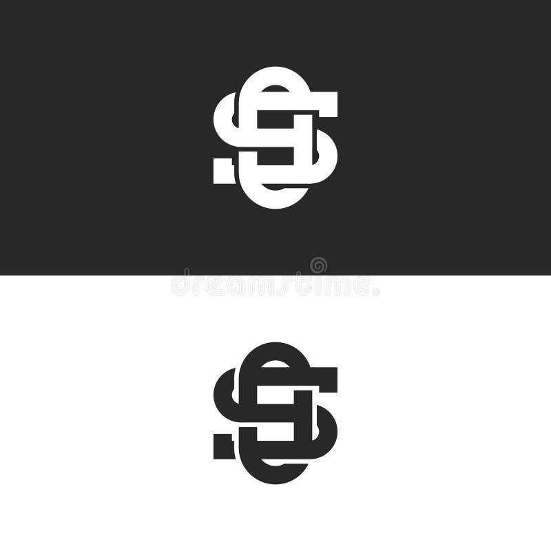Соединенные богато украшенные символы линии стиль логотипа вензеля писем ТАК или операционной системы перекрывая, письма s пересе иллюстрация штока