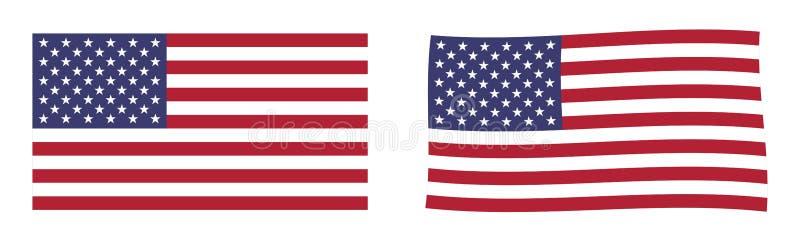 соединенные государства флага америки Простое и немножко развевая versio иллюстрация вектора