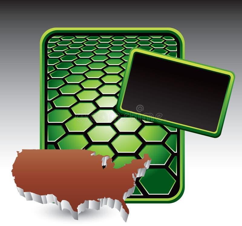 соединенные положения иконы шестиугольника знамени зеленые иллюстрация вектора