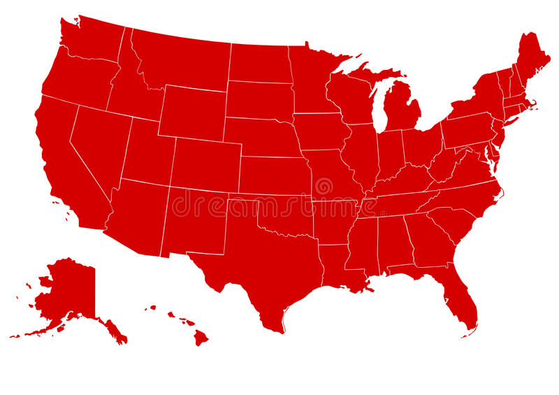 соединенные положения карты америки красные иллюстрация штока