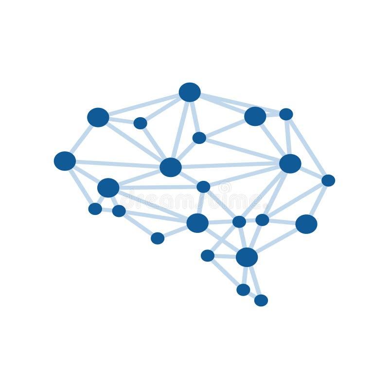 Соединенные точки в технике связи здоровья нейрона формы мозга иллюстрация вектора