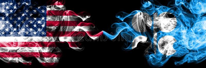 Соединенные Штаты Америки против флагов ОПЕК закоптелых мистических  иллюстрация вектора