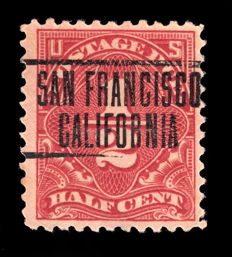Соединенные Штаты Америки США - ОКОЛО 1925: Старый цент печати почтового сбора половинный отмененный в Сан-Франциско Калифорния,  стоковая фотография rf