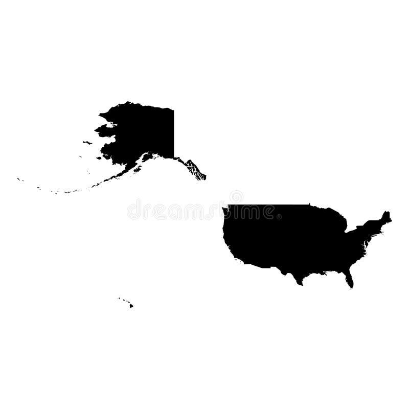 Соединенные Штаты Америки, США - твердая черная карта силуэта района страны Простая плоская иллюстрация вектора иллюстрация вектора