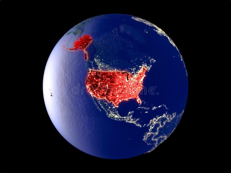 Соединенные Штаты на земле от космоса иллюстрация штока