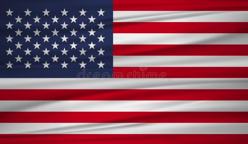 Соединенные Штаты сигнализируют вектор Vector флаг blowig Соединенных Штатов в ветре иллюстрация вектора