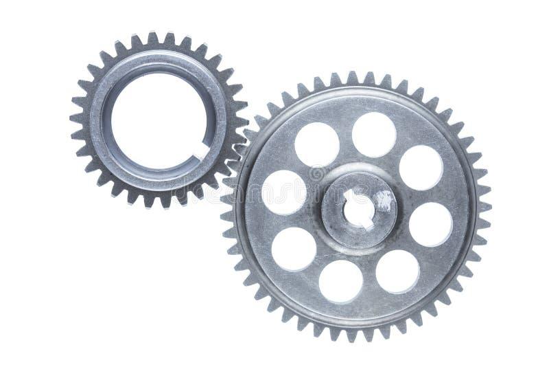 2 соединенных стальных зубчатого колеса коробки передач стоковое изображение rf