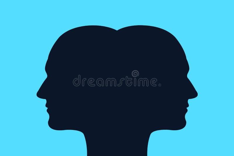 Соединиенные близнецы/шизофрения с разумом и личностью разделения иллюстрация штока