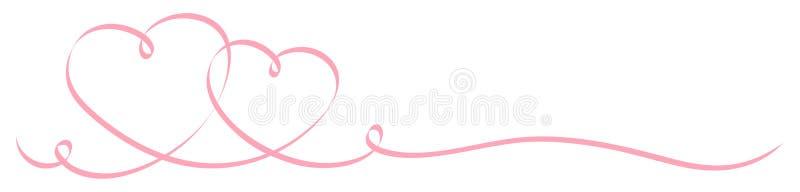 2 соединили розовую ленту каллиграфии сердец бесплатная иллюстрация