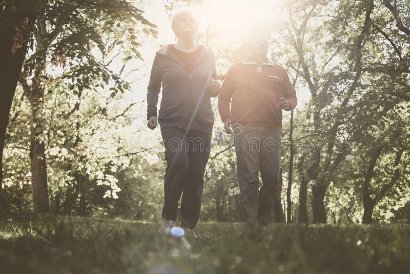 Соедините в одежде спорт jogging совместно в парке стоковое изображение