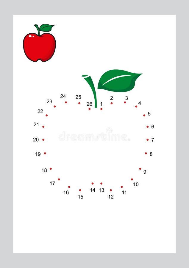 Соедините игру точек и крася страницы уча вектор формы свободной формы printable на предпосылке иллюстрация вектора